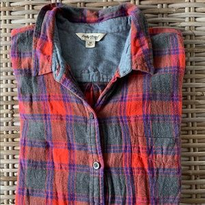 Lucky Brand Red Checked Flannel Button Up Shirt